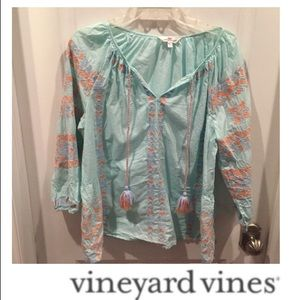 Vineyard Vines Light Blue Embroidered Peasant Top
